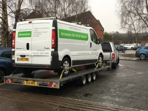 ENDE has just transported a van by trailer from Gloucester, Gloucestershire to Cam, Gloucestershire.