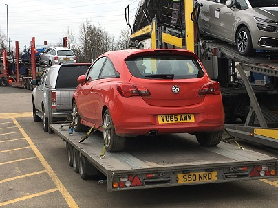 Ende Ltd has just transported a Vauxhall Corsa bought at an auction by trailer from Corby, Northamptonshire and safely delivered it to Taunton, Somerset.
