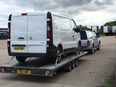 ENDE- the transport by trailer experts, has just transported a van by trailer from Pershore, Worcestershire to Portsmouth, Hampshire.