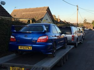ENDE- the transport by trailer experts, has just transported a Subaru Impreza WRX car by trailer from Henley on Thames, Surrey to Essex.